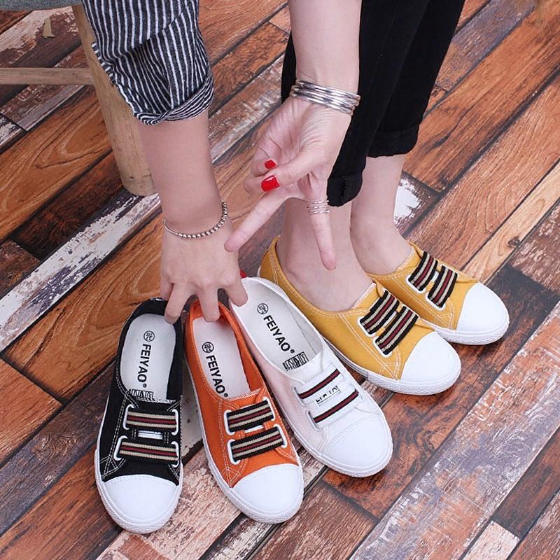韩版夏浅口帆布鞋女平底百搭小白鞋布鞋一脚蹬学生黑色休闲懒人鞋