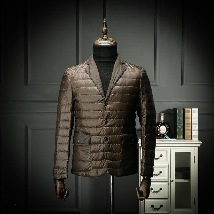 國內單 剪標羽絨服西裝領輕薄秋冬款青年休閑羽絨外套西服領簡約