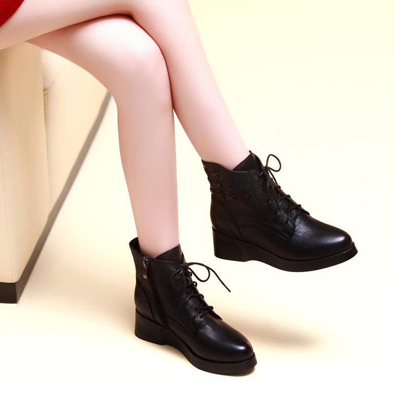 悦丽娜秋冬季真皮休闲平底短靴子新款女兆女鞋香阁儿正品卡美多潮
