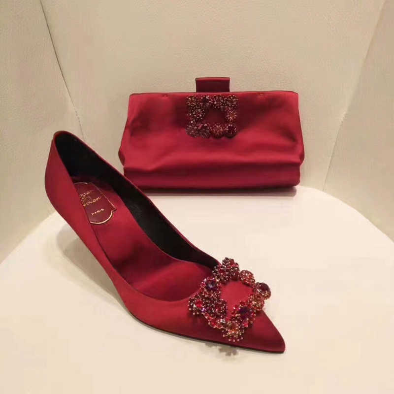 Wedding shoes 2020 new Rhinestone single shoes red high heels thin heels Chinese Xiuhe wedding shoes with bride shoes