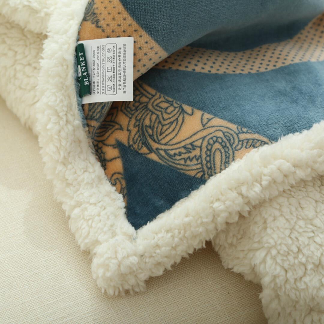 【京d快递】 北欧简约加厚法兰绒仿羊羔绒复合毛毯 自营系列冬季