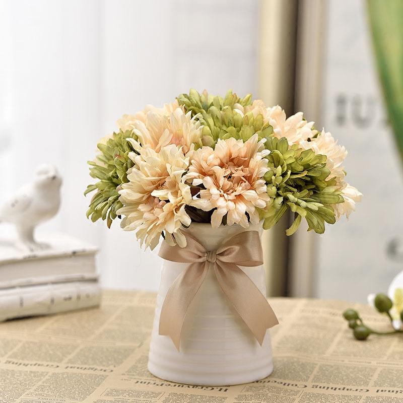 七�^把束非洲菊仿真花束菊花向日葵塑料花室�妊b�花客�d假花�花
