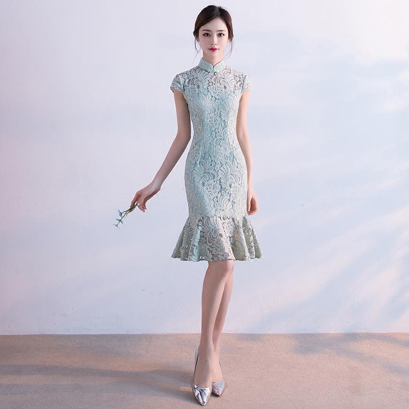 Cheongsam весенние модели 2017 новый девушка мода улучшенная версия краткое модель студент кружево платье рыбий хвост ежедневно лето