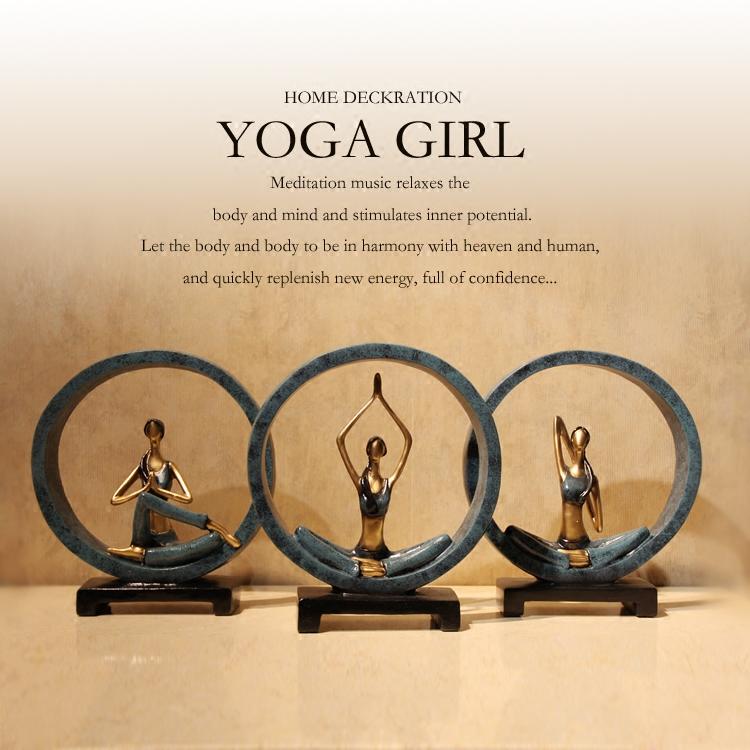 创意树脂瑜伽人物女孩家居装饰品工艺礼品摆件客厅电视柜玄关摆设