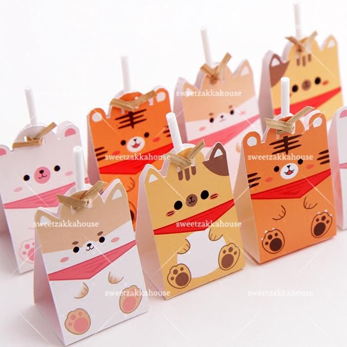 40套价 新款可爱小动物创意棒棒糖装饰纸卡 留言卡 立式卡 4款选