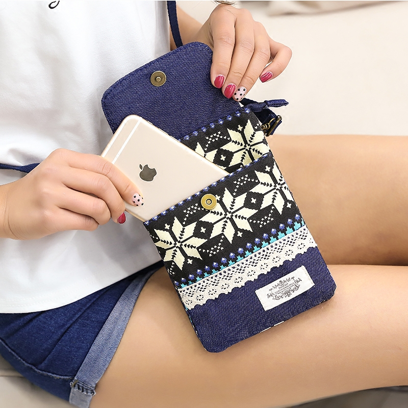 民族风手机包女2019新款斜挎包布艺小包包竖款手机袋装迷你零钱包