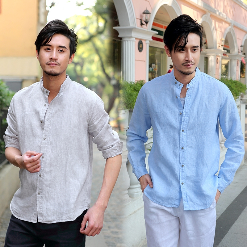Summer stand collar Linen Shirt Small fresh thin mens long sleeve casual cardigan linen slim cotton linen shirt