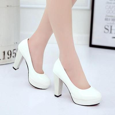 。 Spring new super high heeled shoes thick heel waterproof platform round head shallow mouth cover single shoes professional large womens shoes