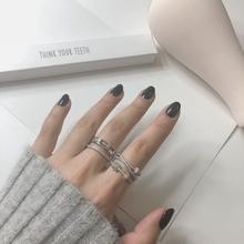 日韩新款灵动圈圈锆石多层开口戒指女可调节时尚个性指环饰品礼物