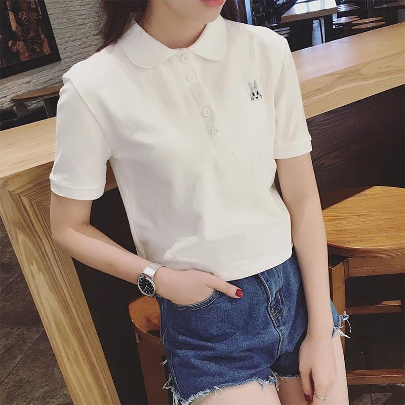 韓國原宿bf風翻領t恤女短袖 半袖高腰體恤短款學生上衣polo衫