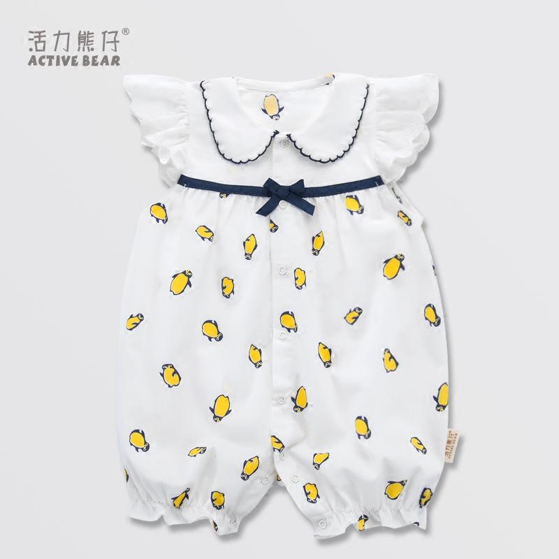婴儿衣服夏季纯棉短袖连体衣女宝宝爬服3-6-12个月新生儿满月服女