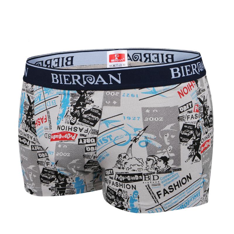裤男 棉质面料印花冬季男士四角中腰平角裤