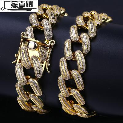 欧美新款嘻哈男士链条项链 18mm微镶满锆石古巴链金银流行饰品
