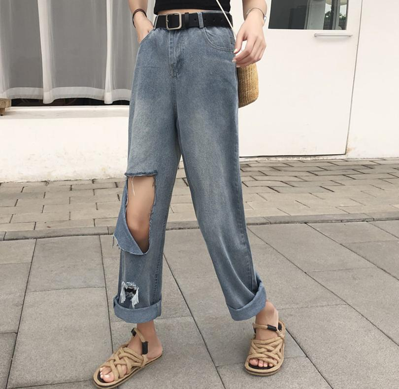 ? Jeans womens straight tube loose new style tide hole high waist curl edge beggar nine point trend scrape patch horn
