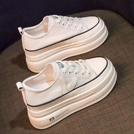 66内增高帆布鞋女2021春季新款韩版百搭松糕底隐形增高鞋显瘦小白图片