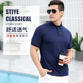 夏季Polo衫男短袖 纯色翻领T恤潮牌新款冰丝青年丝光棉宽松保罗衫图片