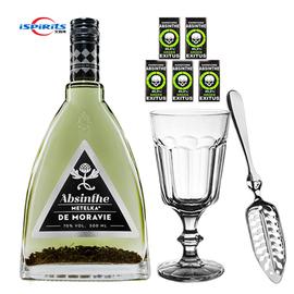 捷克原瓶进口70度麦泰卡绿精灵苦艾酒内含茴香籽absinthe送杯勺糖图片