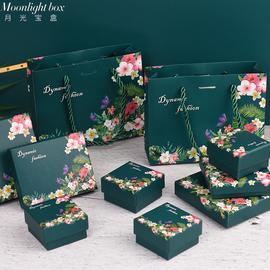 复古绿首饰包装盒项链耳环戒指耳钉手镯手链盒印刷彩盒饰品盒现货图片