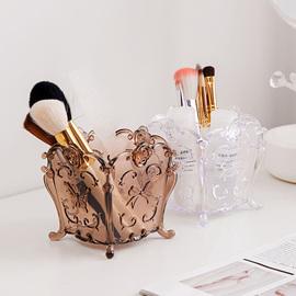 居家家 多格雕花化妆刷收纳盒化妆盒 塑料梳妆台桌面化妆品收纳筒图片