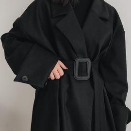 boccalook赫本风黑色西装毛呢外套大衣女长款风衣大码秋冬季加厚