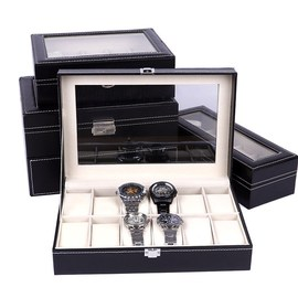 Clock Watches Jewelry Boxes Case Leather Watch Box Case图片