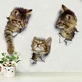 1片装 3片装 3D效果可爱小猫咪墙贴呆萌客厅卧室玻璃装饰贴画墙纸