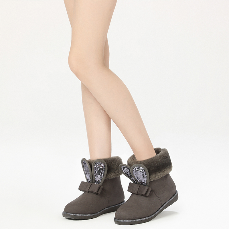 Daphne 達芙妮舒適毛絨平底短靴 甜美蝴蝶結兔耳雪地靴1016608004