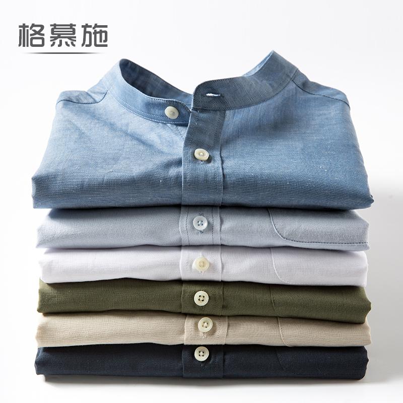 薄款棉麻立領短袖襯衫大碼青年潮純色男士圓領麻棉半袖 襯衣