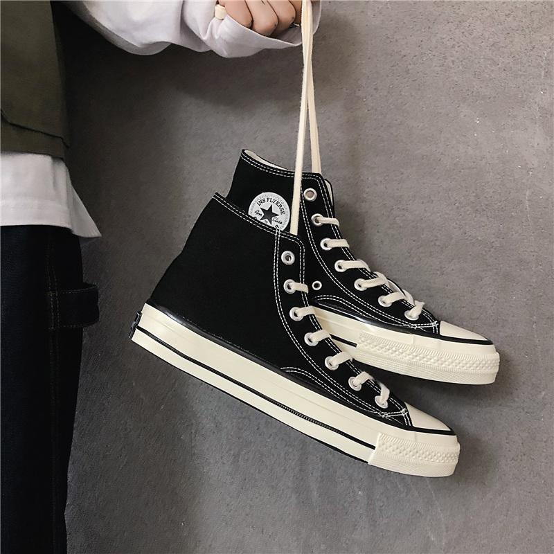 1970s薑黃色男女款春秋2019 情侶純色百搭透氣學生高幫帆布鞋