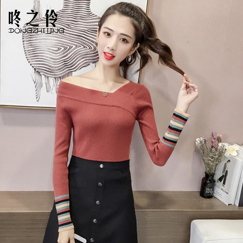 2018秋裝 修身條紋打底針織衫女長袖短款毛衣v領上衣服薄款潮