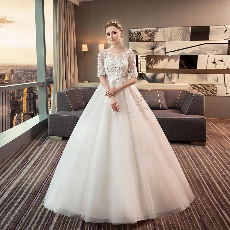 婚紗禮服 一字肩公主大碼齊地2018 蓬蓬裙中袖新娘結婚孕婦