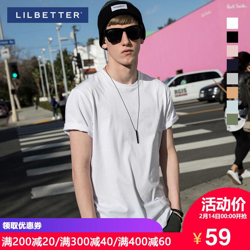 Lilbetter男士T恤 純棉半袖 體恤 純色百搭簡約LB短袖男