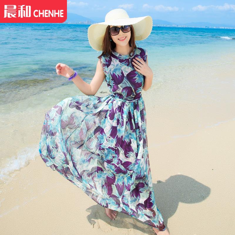 波西米亞沙灘裙海邊度假裙馬爾代夫旅遊女深色雪紡長裙