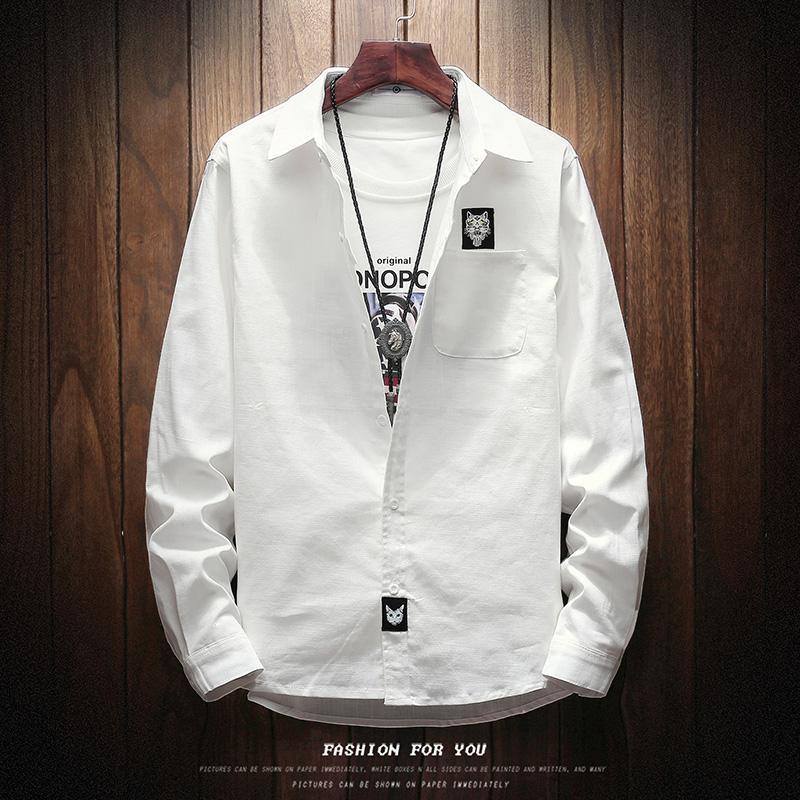 長袖襯衫白色男士方領 潮流加肥加大碼bf日係寬鬆襯衣純色