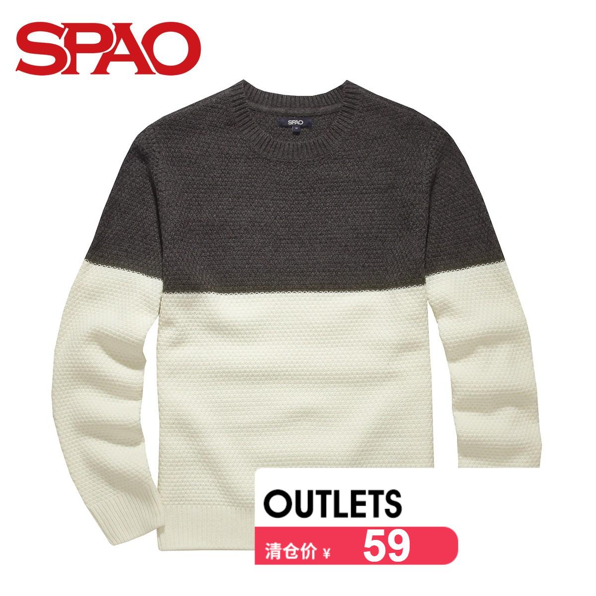 SPAO韓國衣戀 2016春夏 男式撞色圓領毛衣 SPKW611C08