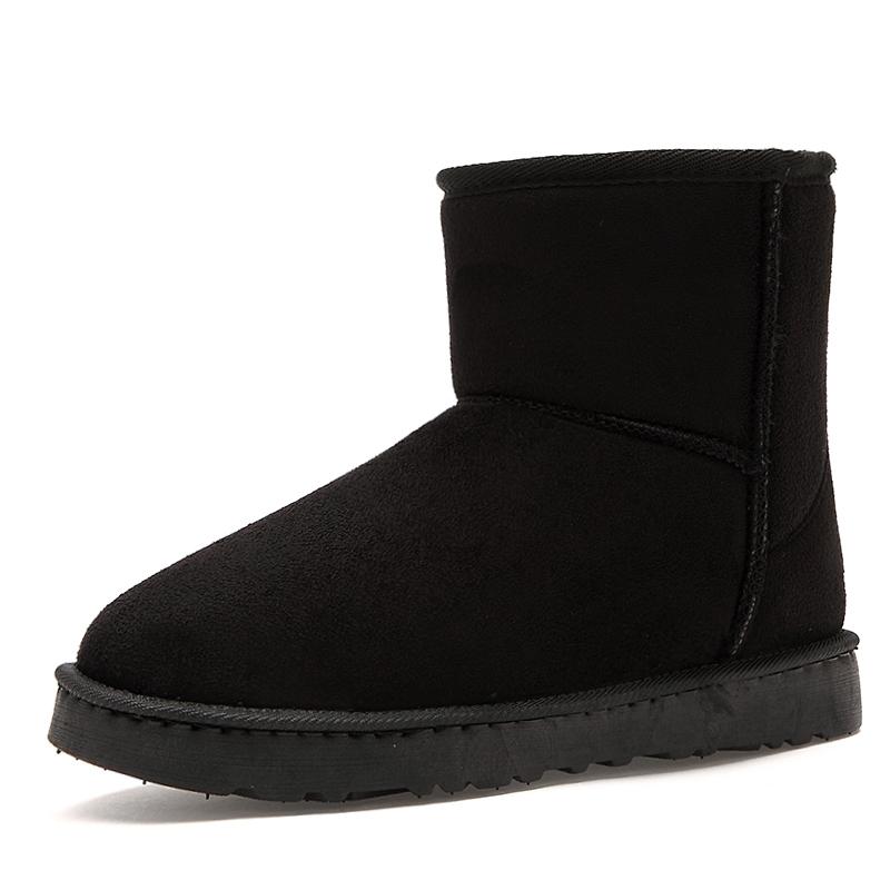 男女雪地靴女中筒 加厚保暖防水防滑平底短靴短筒學生女靴