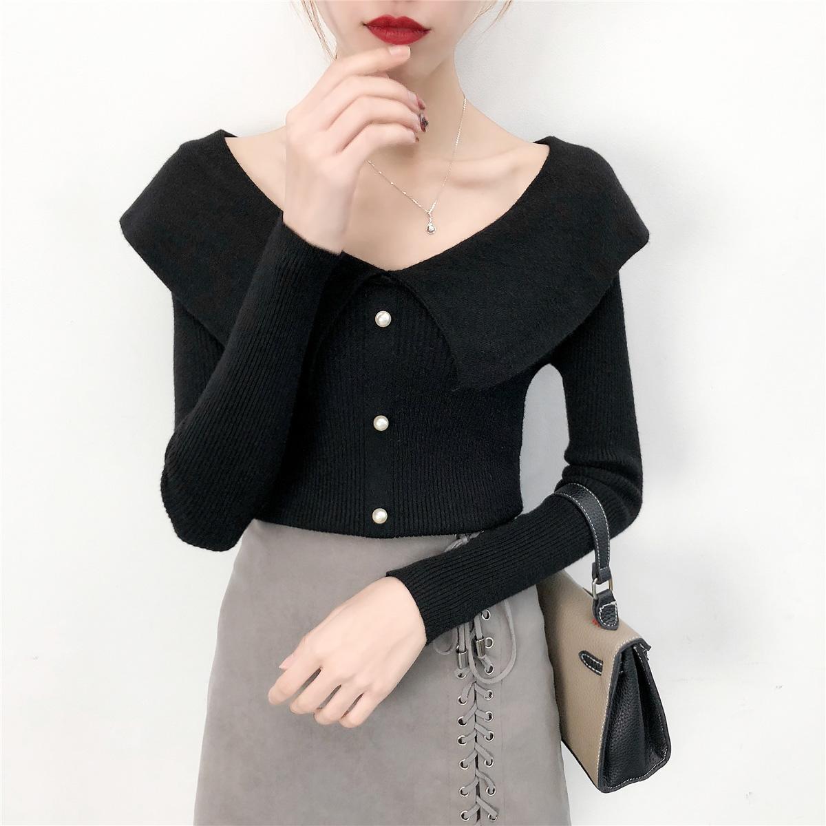 針織衫長袖秋裝2018 初秋 套頭娃娃領打底衫女上衣薄款毛衣