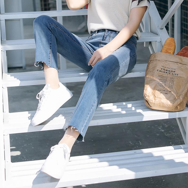 chic直筒牛仔褲女寬鬆 學生bf百搭複古港味網紅同款九分闊腿褲