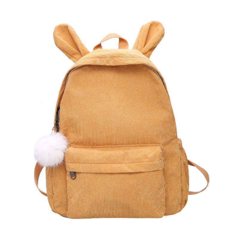 輕度少女書包 簡約校園燈芯絨雙肩包2018 可愛學生森係背包