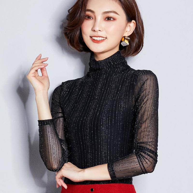 高領打底衫女長袖t恤秋裝2018 修身薄款大碼亮絲網紗上衣