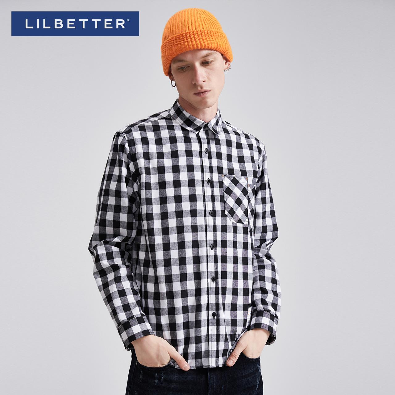 Lilbetter襯衣男 格紋帥氣尖領上衣 潮牌 男士格子襯衫