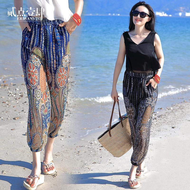 民族風薄款花沙灘長褲女夏寬鬆泰國海邊度假雪紡紗九分哈倫燈籠褲