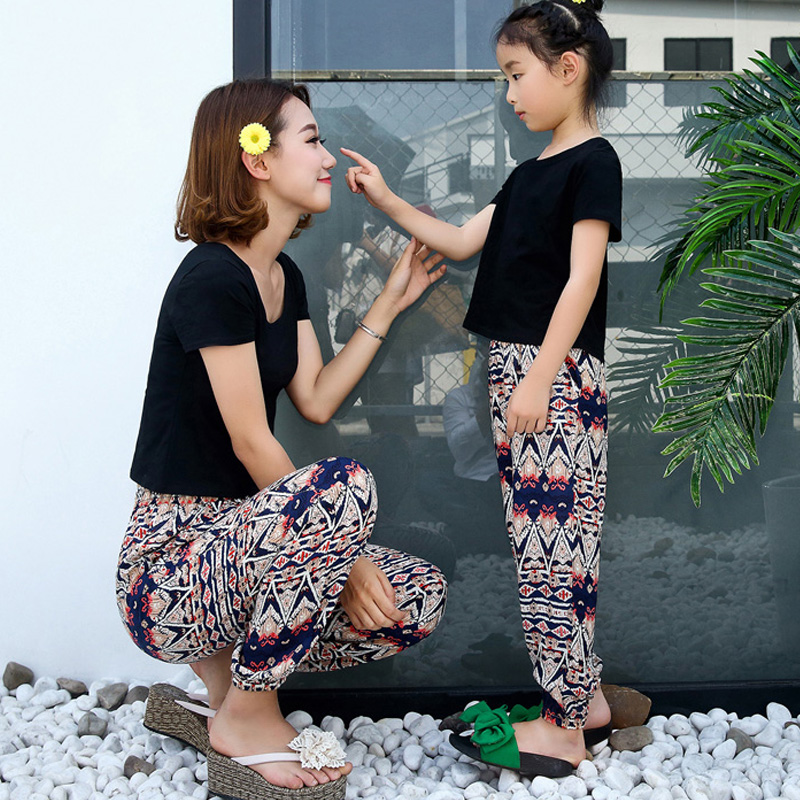人造棉綢花沙灘長褲女褲子 綿綢哈倫親子母女裝九分泰國燈籠褲
