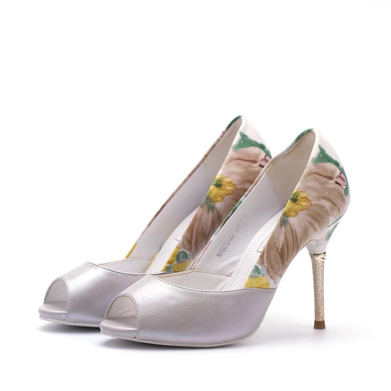 卓詩尼 專櫃高跟單鞋細跟女鞋魚嘴鞋161227270