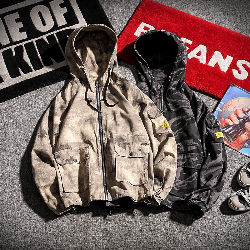 胖子迷彩連帽夾克男加肥大碼寬鬆 潮流學生 上衣 裝外套