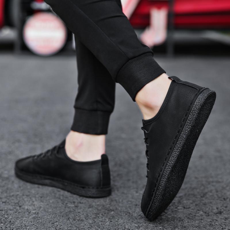 防滑板鞋全黑色男鞋子酒店廚師上班防水 皮鞋廚房工作黑鞋