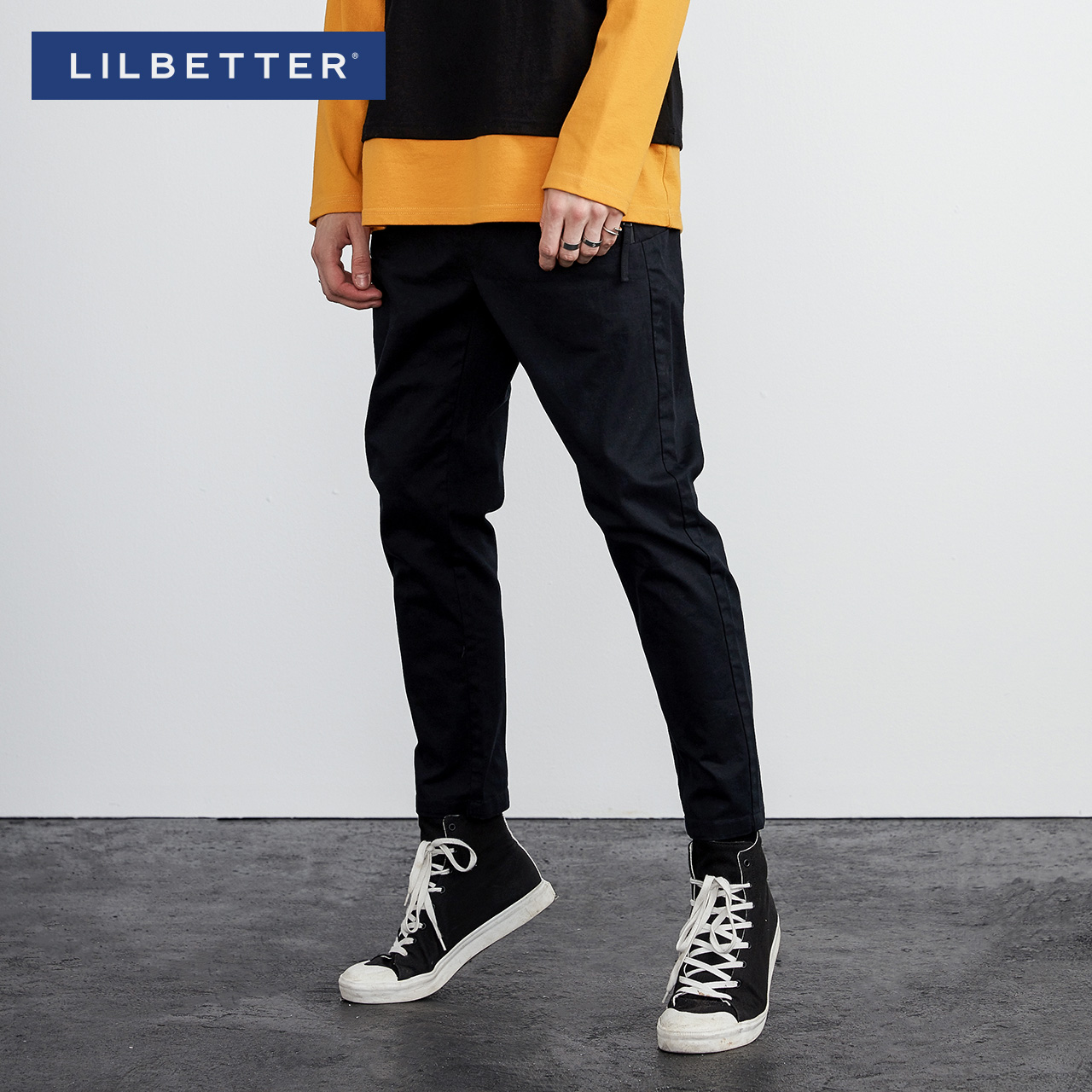Lilbetter男士九分褲 黑色複古 褲 修身哈倫褲潮流小腳褲男