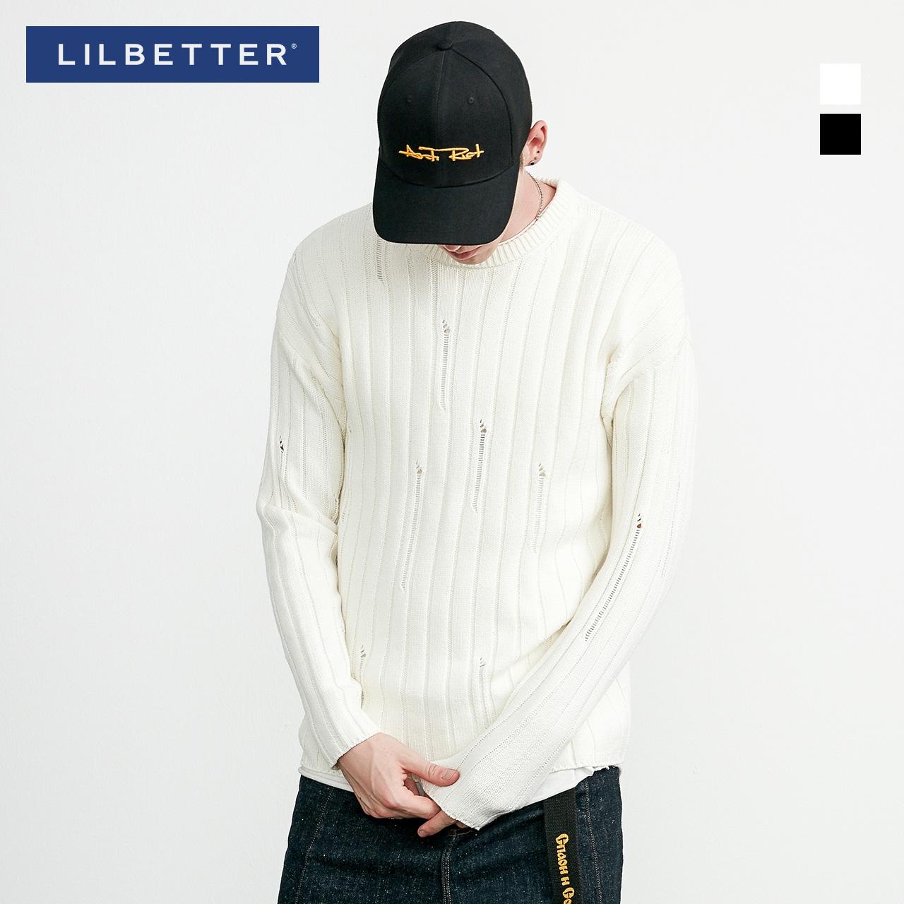 Lilbetter圓領毛衣男 純色修身套頭線衣簡約小清新潮流男士針織衫