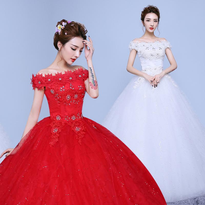 婚紗禮服新娘婚紗一字肩韓式婚紗大紅色齊地顯瘦修身婚禮綁帶複古