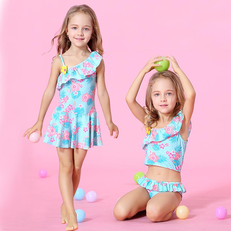 女童韓國裙式連體防曬泳衣兒童公主分體遊泳衣比基尼可愛溫泉泳裝
